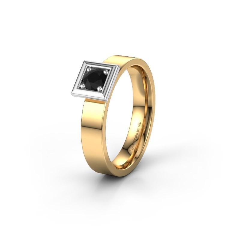 Trouwring WH2112L14A 585 goud zwarte diamant ±4x1.7 mm