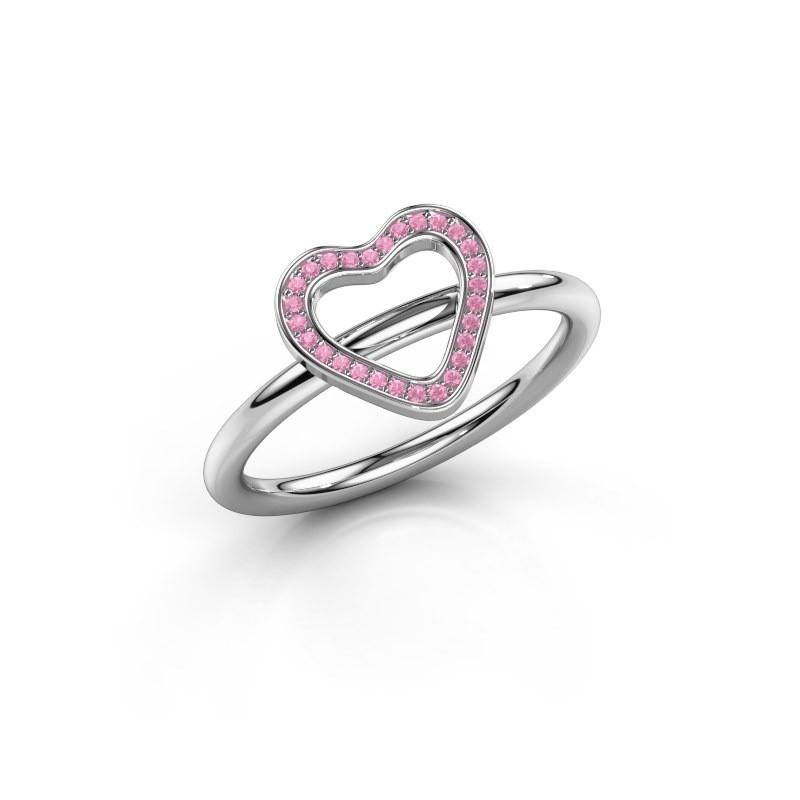 Ring Initial heart 950 platina roze saffier 0.8 mm