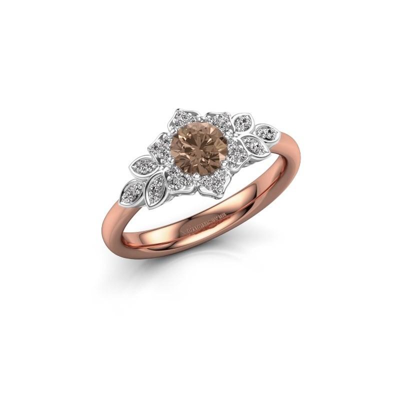 Engagement ring Tatjana 585 rose gold brown diamond 0.635 crt