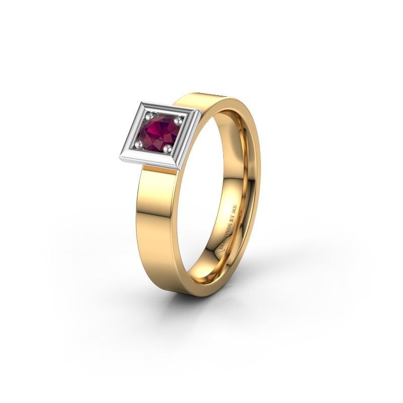 Trouwring WH2112L14A 585 goud rhodoliet ±4x1.7 mm