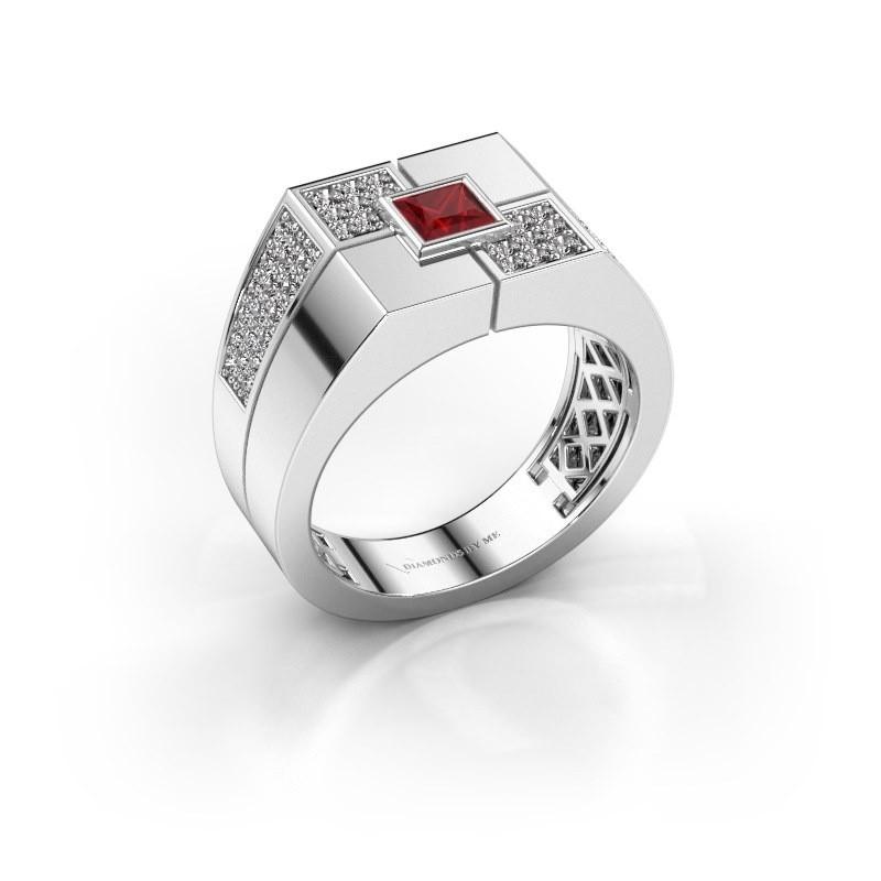 Men's ring Rogier 375 white gold ruby 4 mm