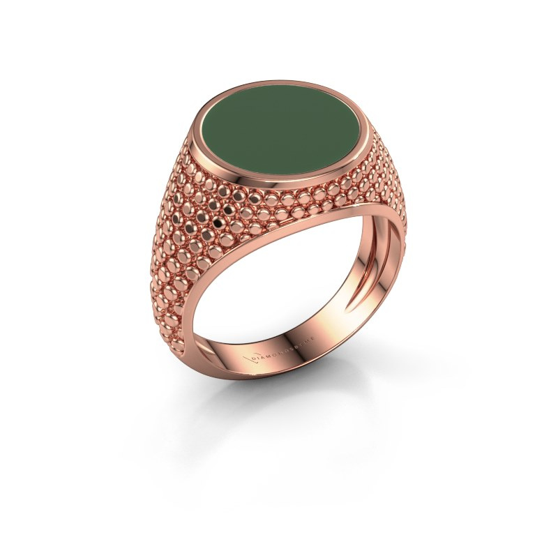 Zegelring Zachary 2 375 rosé goud groene emaille 12 mm