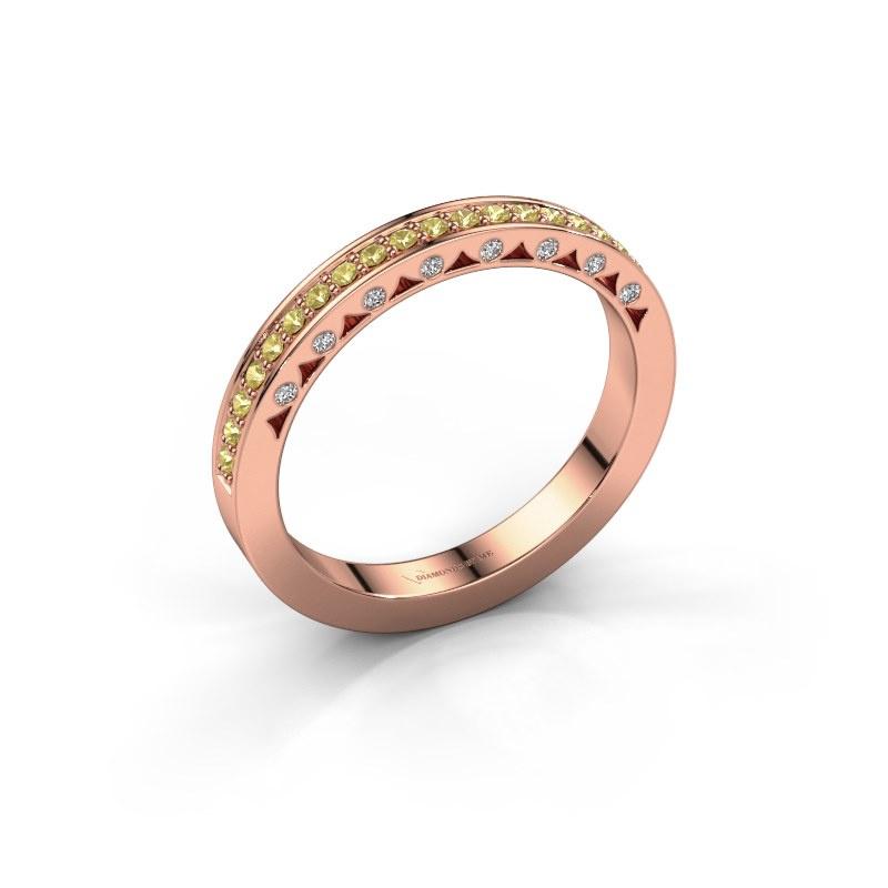 Ring Yasmine 585 rose gold yellow sapphire 1.2 mm