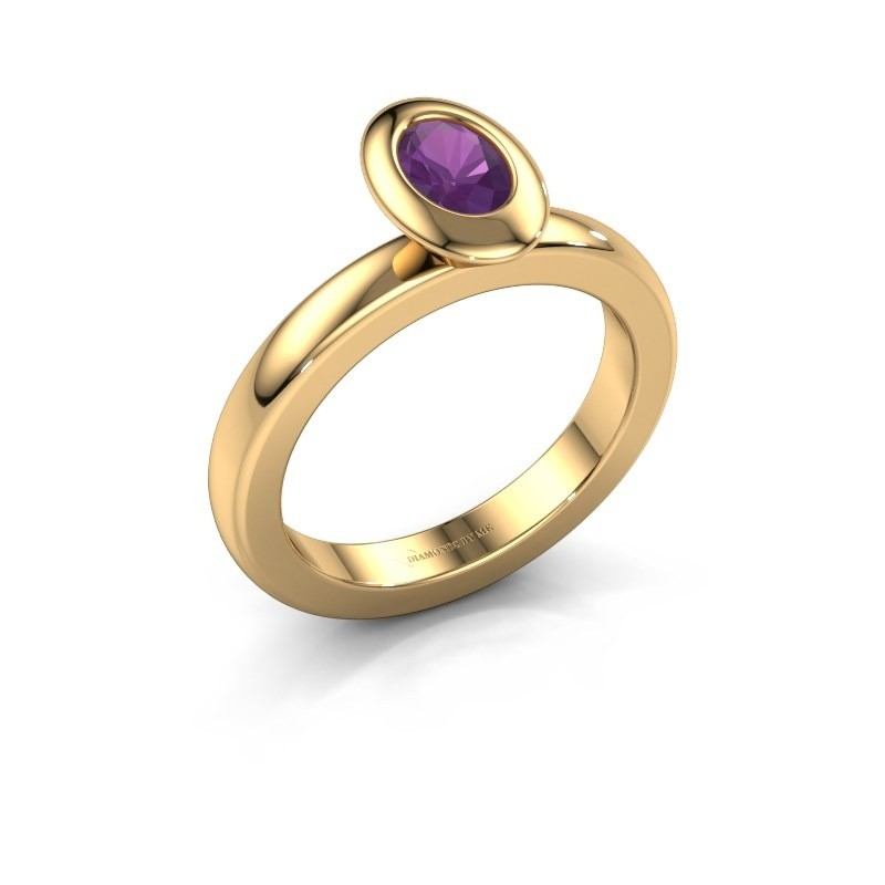 Stacking ring Trudy Oval 585 gold amethyst 6x4 mm