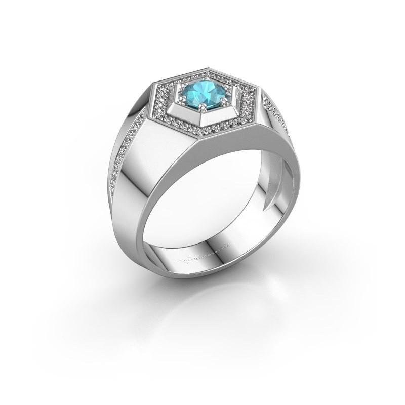 Men's ring Sjoerd 925 silver blue topaz 4.7 mm