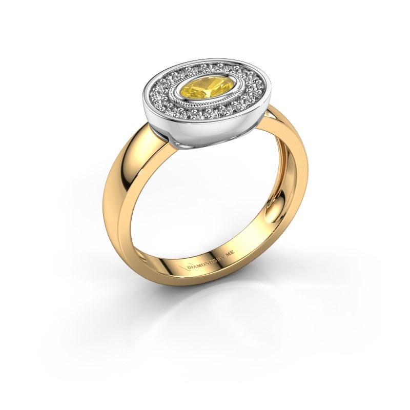 Bague Azra 585 or jaune saphir jaune 5x3 mm