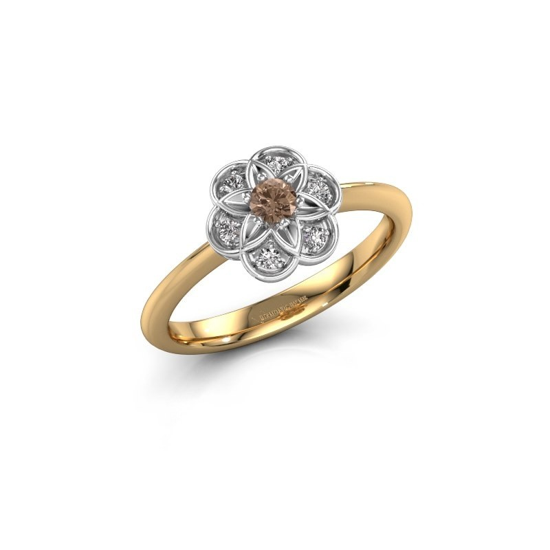 Engagement ring Uma 585 gold brown diamond 0.10 crt