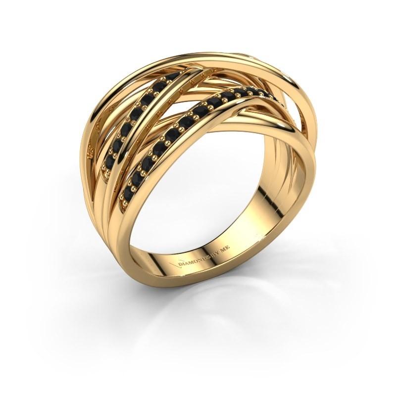 Ring Fem 2 375 gold black diamond 0.540 crt