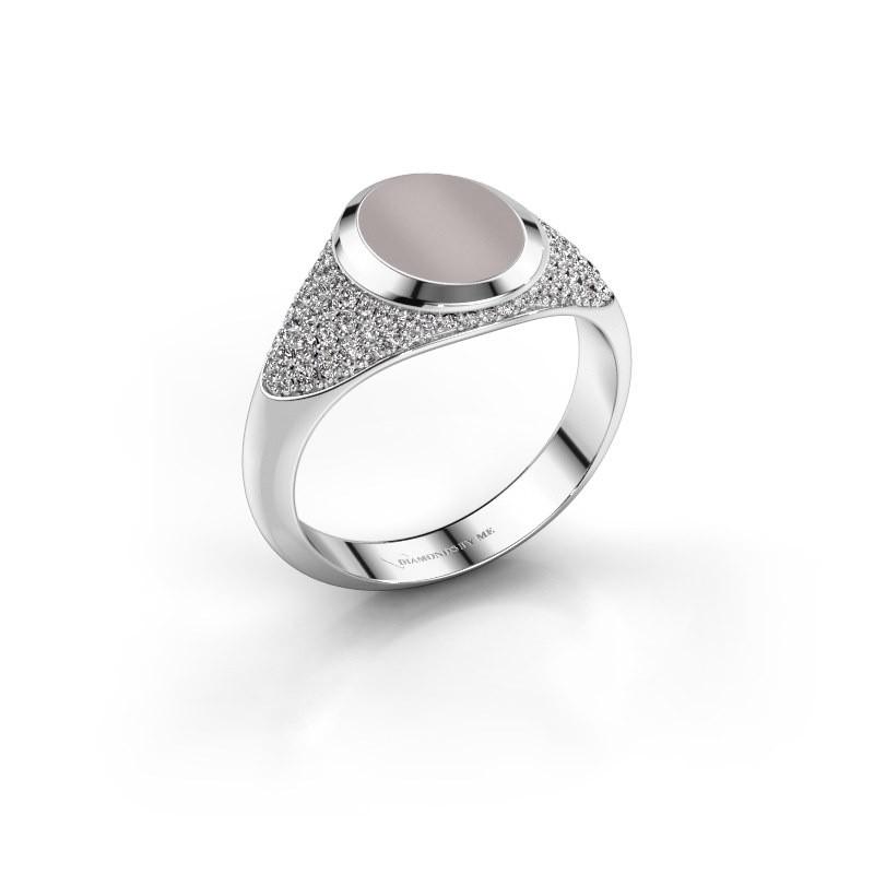 Pinkring Giovani 925 zilver rode lagensteen 10x8 mm