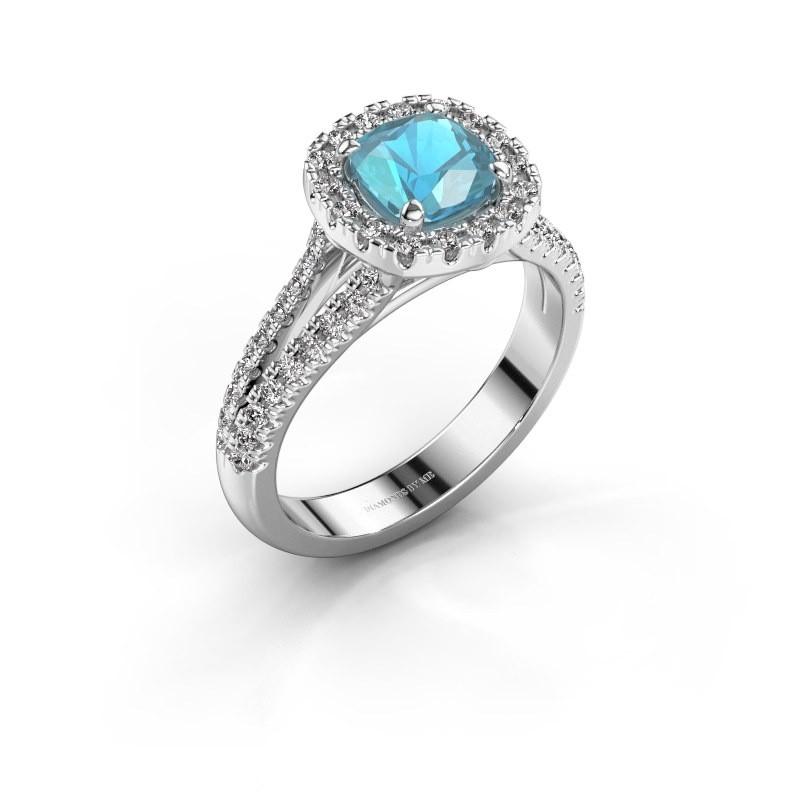 Verlovingsring Francesca 585 witgoud blauw topaas 6 mm