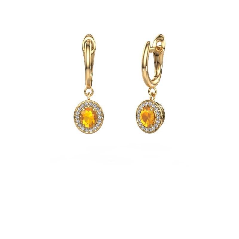 Oorhangers Nakita 375 goud citrien 5x4 mm