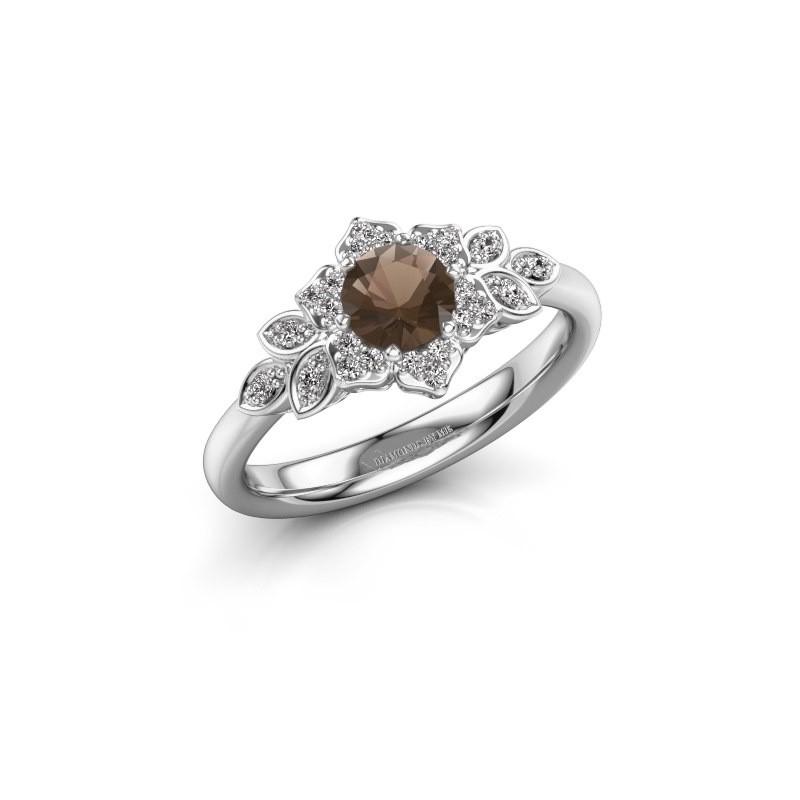 Engagement ring Tatjana 585 white gold smokey quartz 5 mm