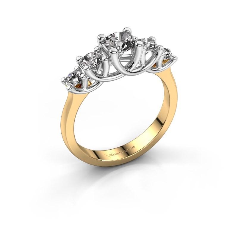 Engagement ring Jet 585 gold diamond 1.00 crt