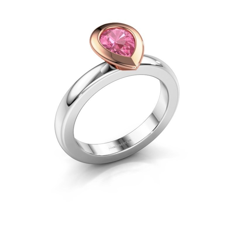 Stapelring Trudy Pear 585 witgoud roze saffier 7x5 mm