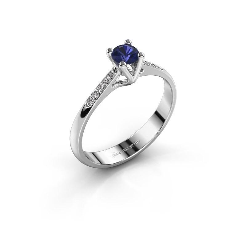 Promise ring Janna 2 585 witgoud saffier 4 mm
