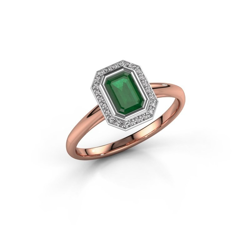 Verlovingsring Noud 1 EME 585 rosé goud smaragd 6x4 mm
