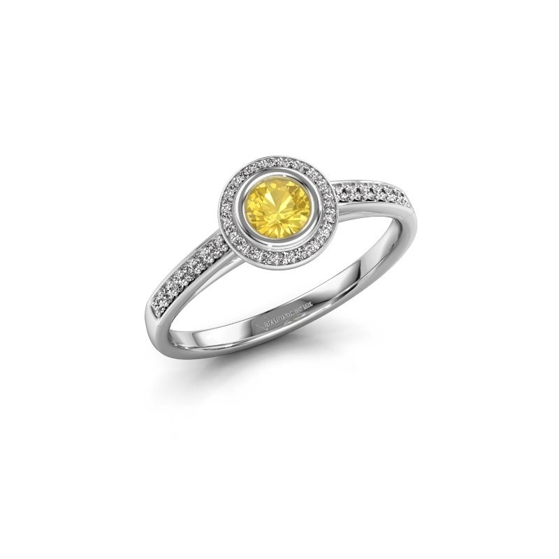 Engagement ring Noud 2 RND 585 white gold yellow sapphire 4 mm