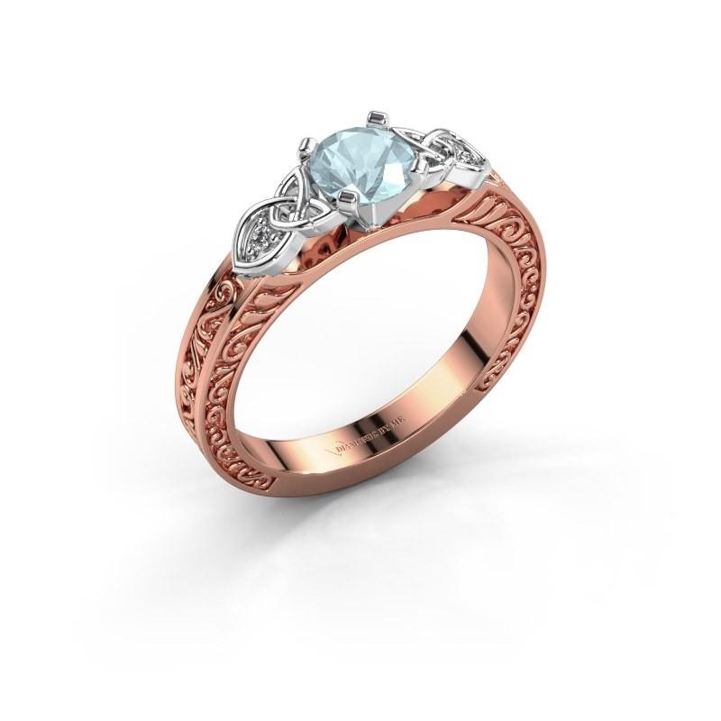 Verlovingsring Gillian 585 rosé goud aquamarijn 5 mm