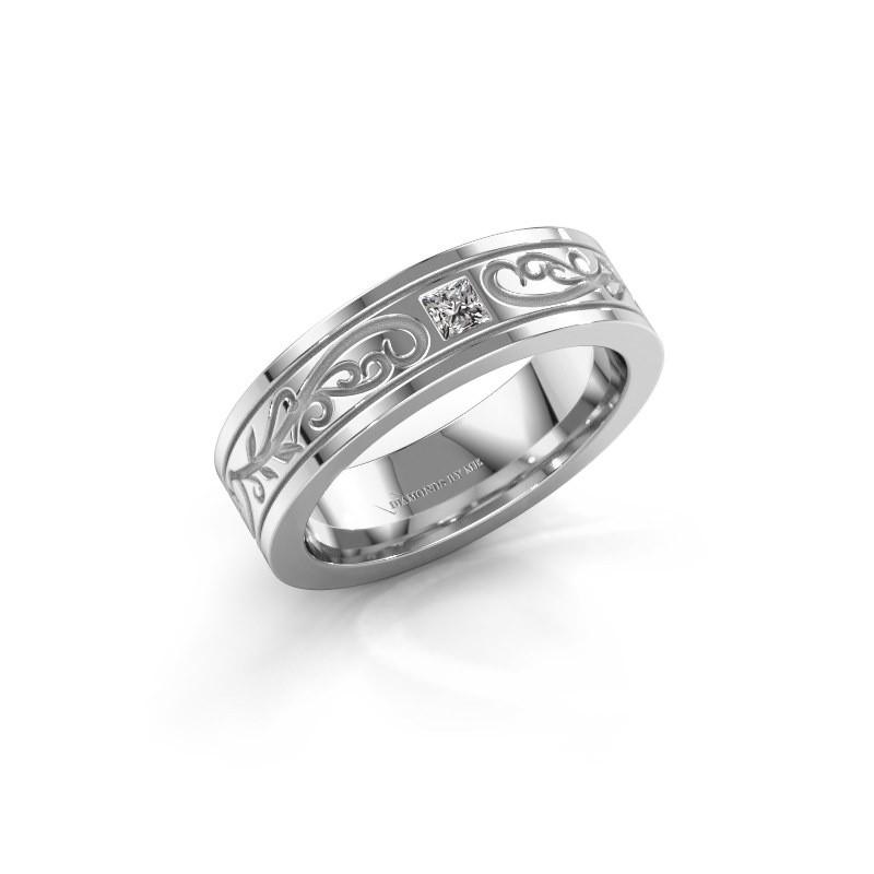 Heren ring Matijs 585 witgoud diamant 0.17 crt