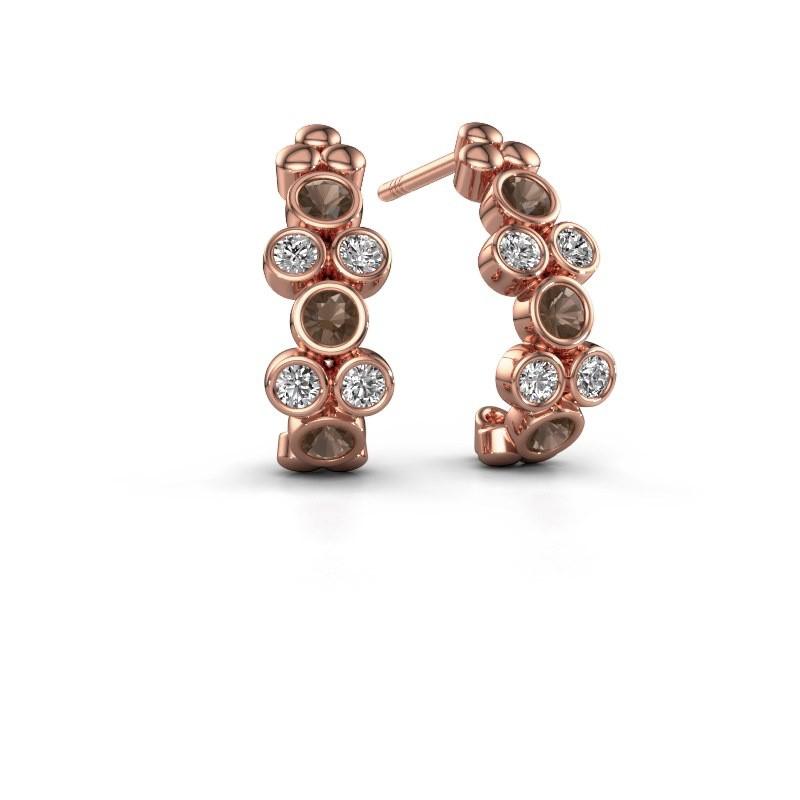 Earrings Kayleigh 375 rose gold smokey quartz 2.4 mm