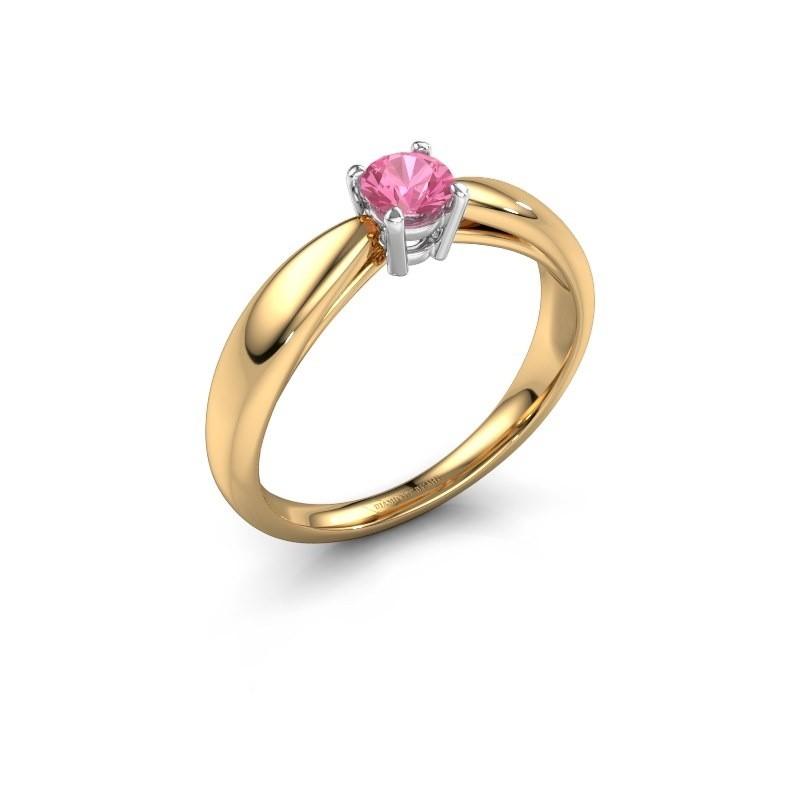 Verlovingsring Nichole 585 goud roze saffier 4.2 mm