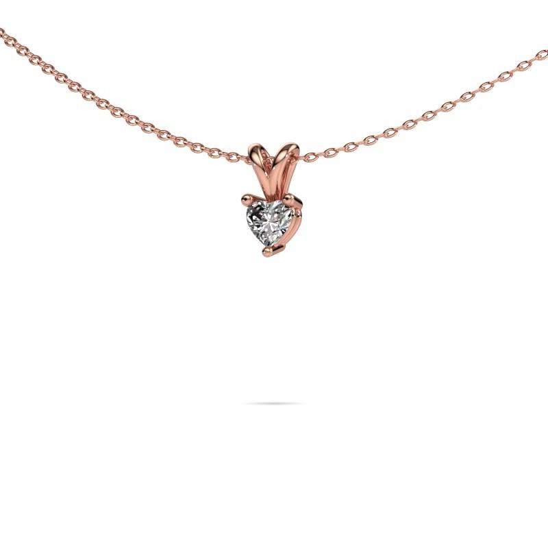 Ketting Garnet 375 rosé goud diamant 0.25 crt