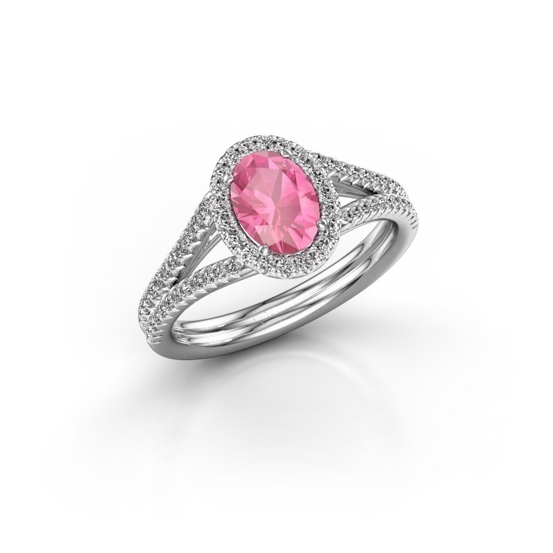 Engagement ring Rachele 2 585 white gold pink sapphire 7x5 mm