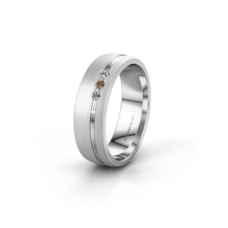 Trouwring WH0322L25AM 585 witgoud bruine diamant ±6x1.7 mm