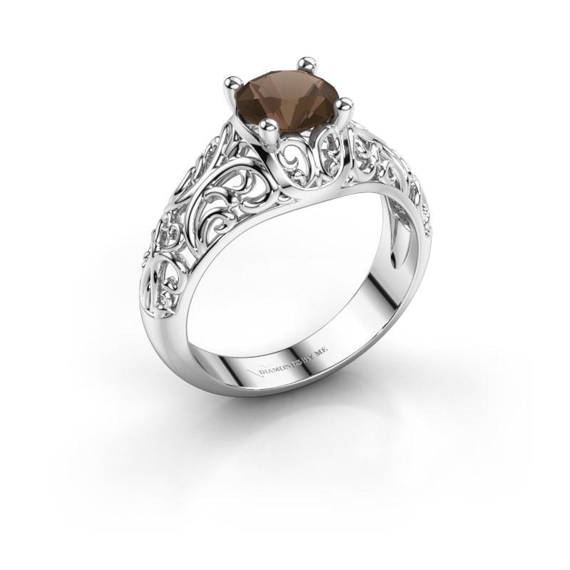 Ring Mirte 950 platina rookkwarts 6.5 mm