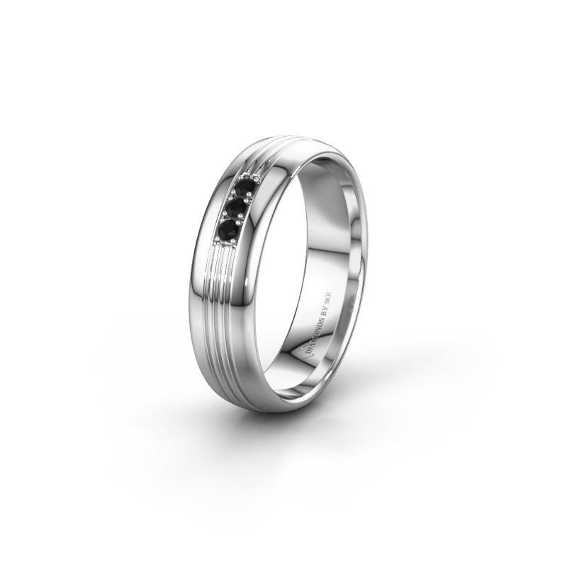 Trouwring WH0405L35X 950 platina zwarte diamant ±5x1.5 mm