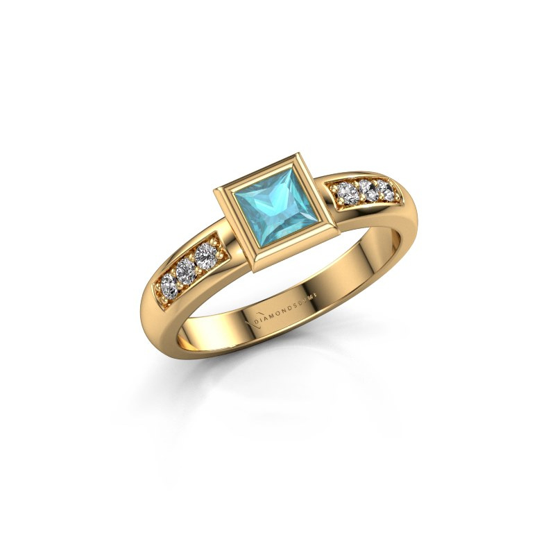 Steckring Lieke Square 585 Gold Blau Topas 4 mm