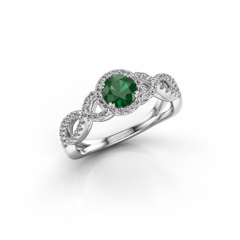 Verlovingsring Casandra 585 witgoud smaragd 5 mm