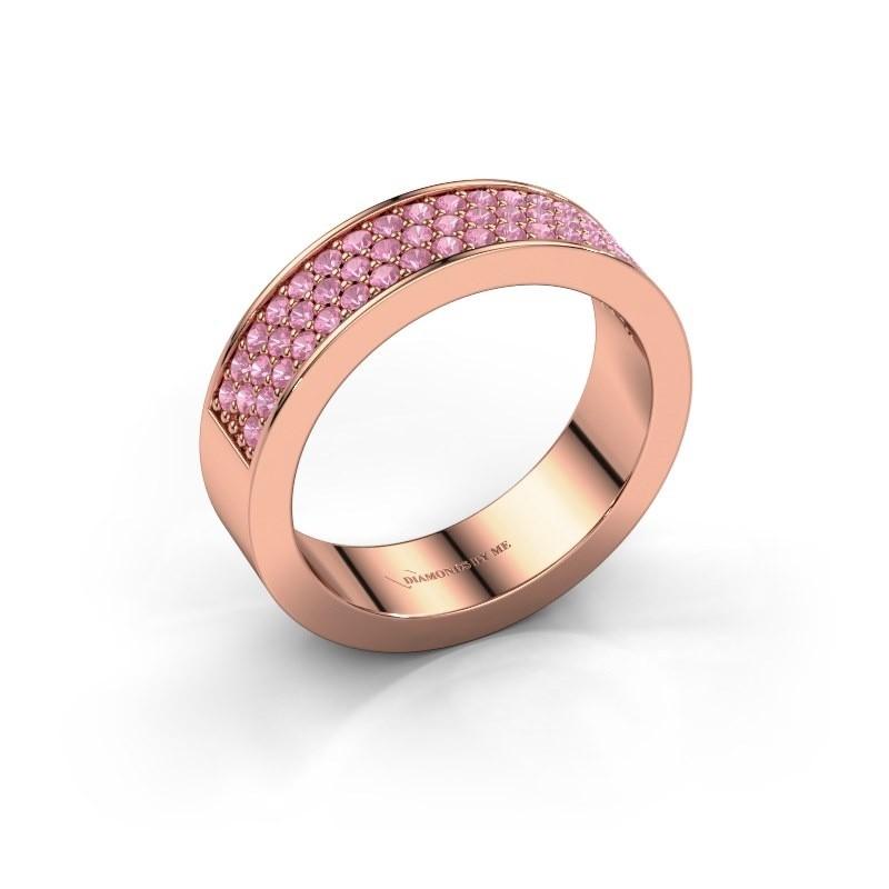 Ring Lindsey 4 375 rosé goud roze saffier 1.3 mm