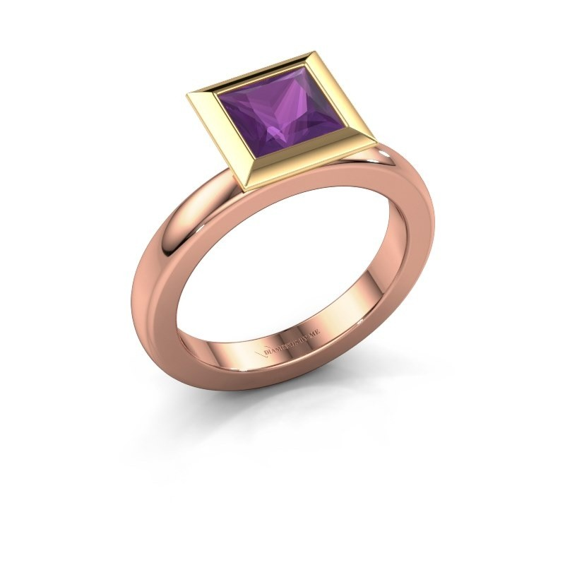 Stapelring Trudy Square 585 rosé goud amethist 6 mm