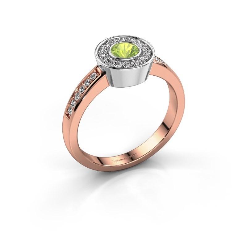 Ring Adriana 2 585 rosé goud peridoot 4 mm