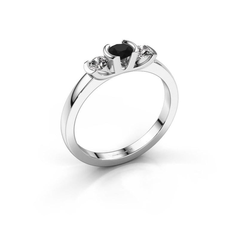 Ring Lucia 950 platinum black diamond 0.44 crt