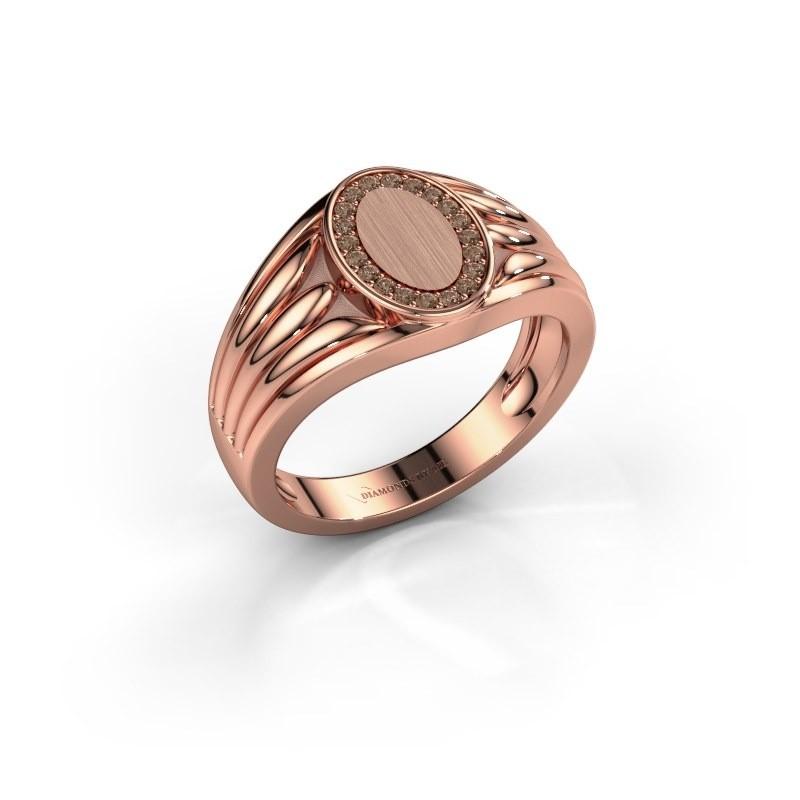 Pinkring Marinus 375 rosé goud bruine diamant 0.15 crt