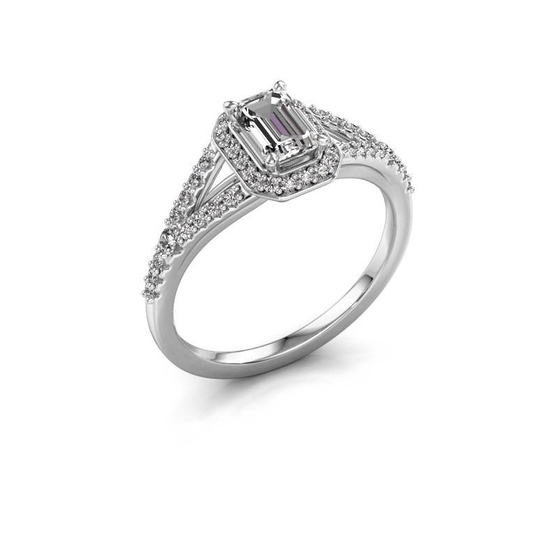 Bague de fiançailles Pamela EME 585 or blanc diamant synthétique 0.95 crt
