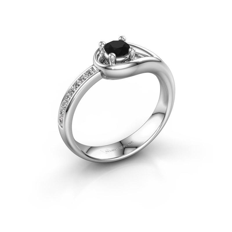 Ring Zara 585 white gold black diamond 0.36 crt