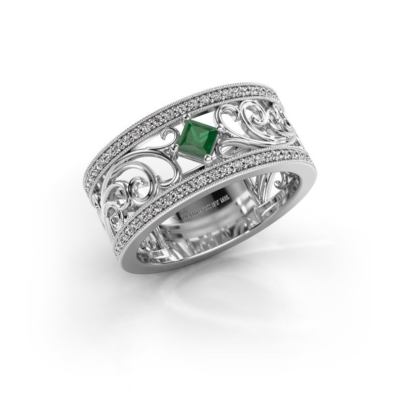Ring Danae 925 zilver smaragd 3 mm