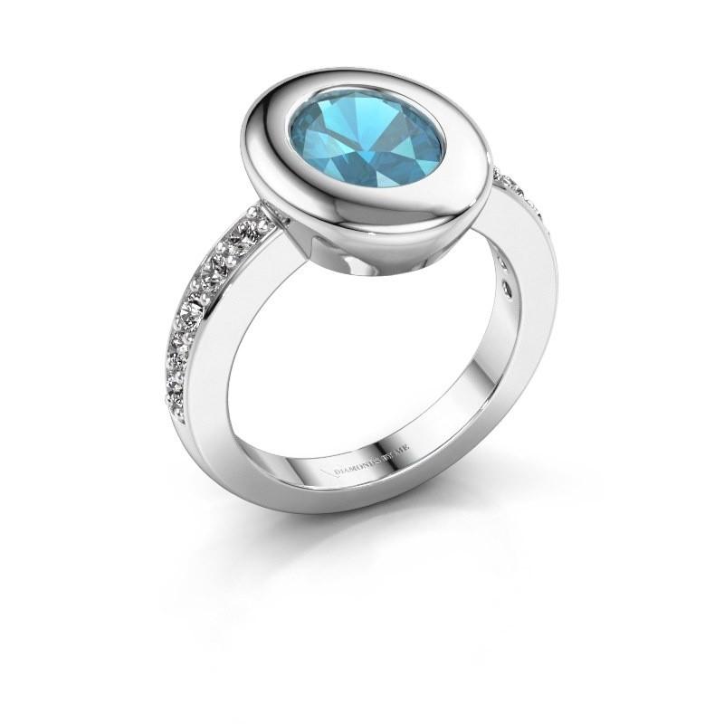 Ring Selene 2 925 zilver blauw topaas 9x7 mm