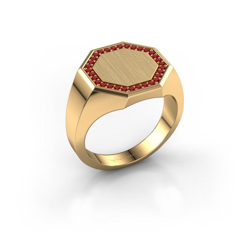 Men's ring Floris Octa 3 375 gold ruby 1.2 mm