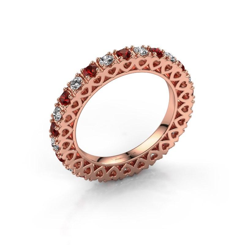 Stackable ring Hailey 585 rose gold garnet 2.2 mm