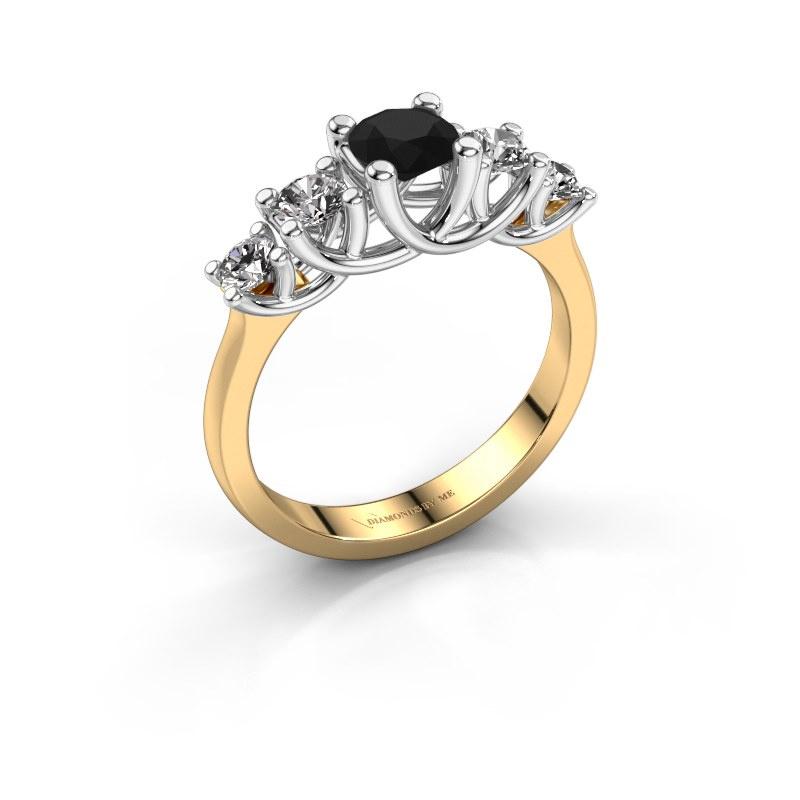 Verlobungsring Jet 585 Gold Schwarz Diamant 1.100 crt
