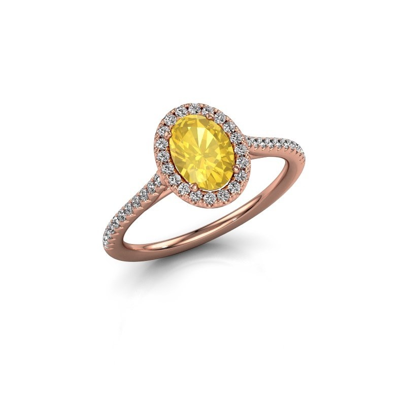 Engagement ring Seline 2 375 rose gold yellow sapphire 7x5 mm