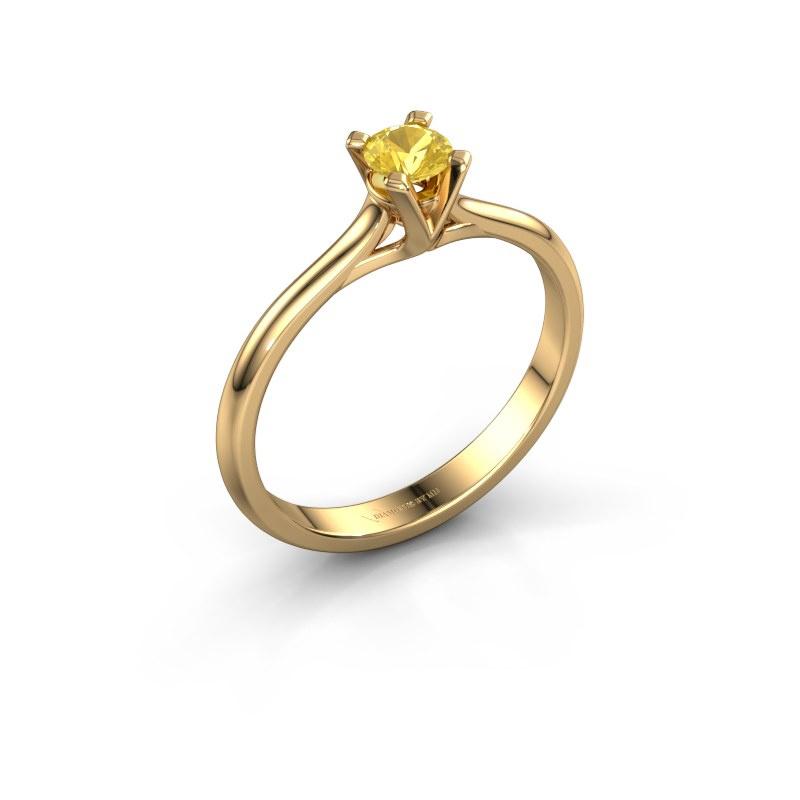 Verlovingsring Isa 1 585 goud gele saffier 4 mm
