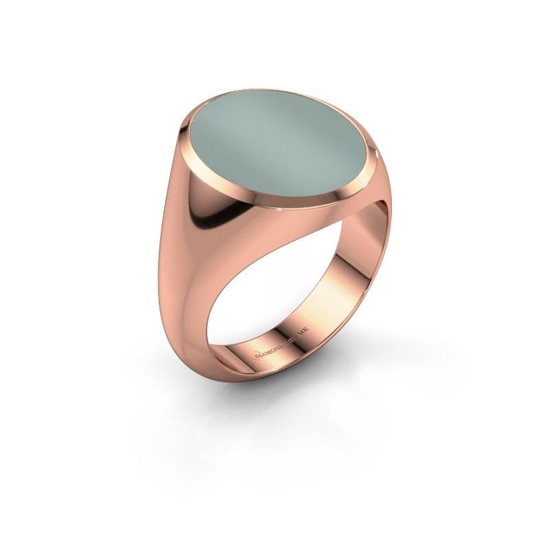 Signet ring Herman 6 375 rose gold green sardonyx 16x13 mm