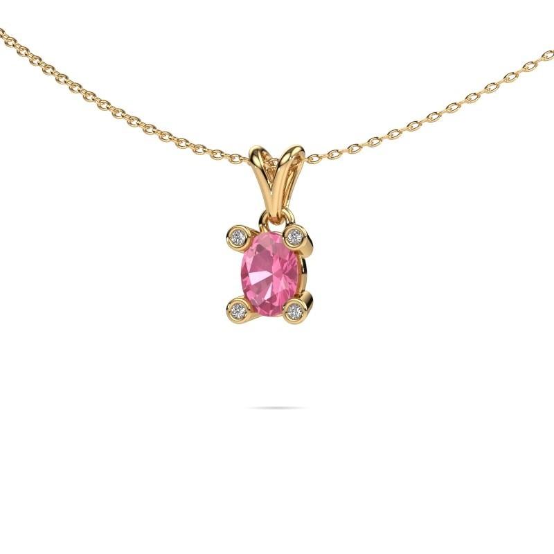Ketting Cornelia Oval 585 goud roze saffier 7x5 mm