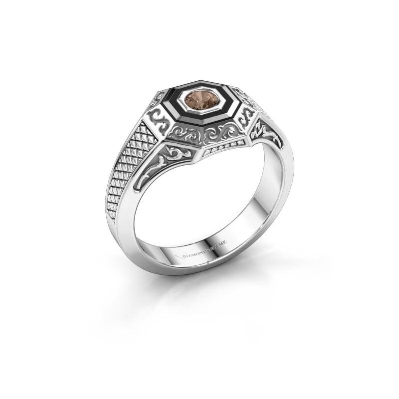 Men's ring Dion 925 silver brown diamond 0.25 crt
