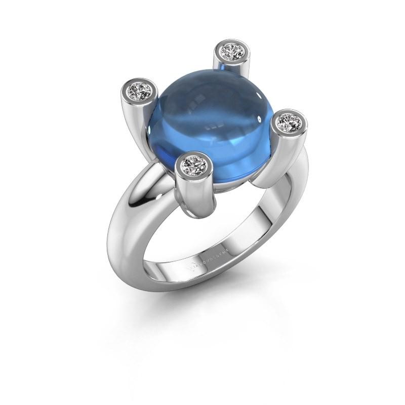 Ring Janice RND 950 platina blauw topaas 12 mm